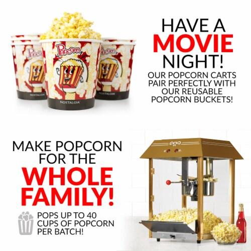 Nostalgia Red Vintage Commercial Popcorn Cart Perspective: bottom