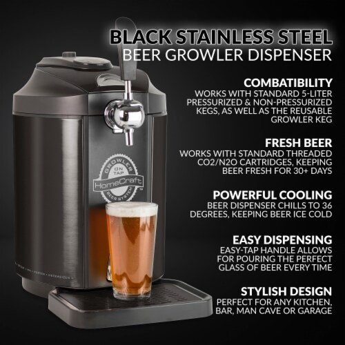 HomeCraft Stainless Steel Tap Beer Growler Cooling System - Black Perspective: bottom