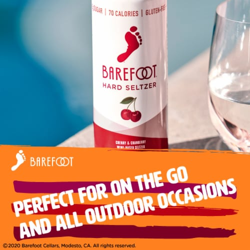 Barefoot Wine Hard Seltzer Cherry & Cranberry 4 single serve 250ml Cans Perspective: bottom