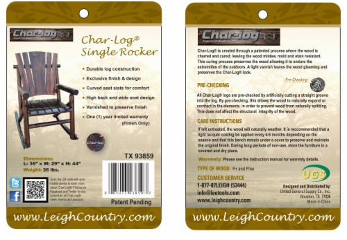 Leigh Country Char-log Single Rocker - Brown Perspective: bottom