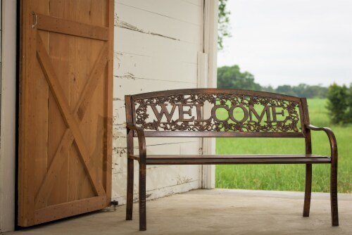 Leigh Country Metal Welcome Bench - Bronze Perspective: bottom