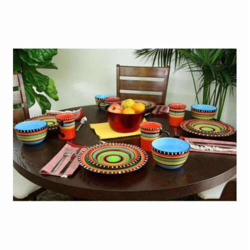 Gibson Elite 16 Piece Multi Color Glaze Dinnerware Set with Plates, Bowls & Mugs Perspective: bottom