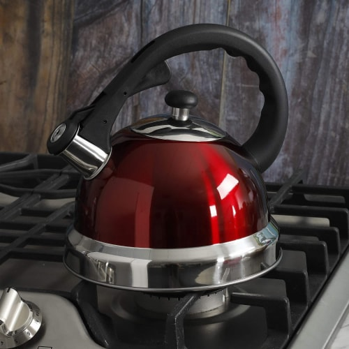 Mr Coffee 2.2 Quart Claredale Stainless Steel Stove Top Tea Pot Kettle, Red Perspective: bottom