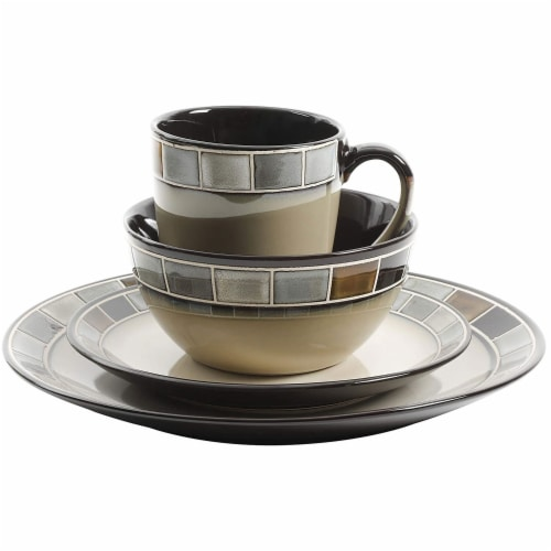 Gibson Elite Casa Gris 16 Piece Plates, Bowls, & Mugs Dinnerware Set, Cream/Grey Perspective: bottom