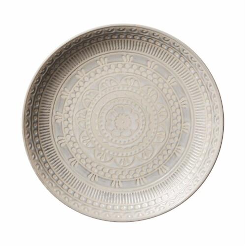Gibson 16 Piece Reactive Glaze Dinnerware Set Plates, Bowls, and Mugs, Cream Perspective: bottom
