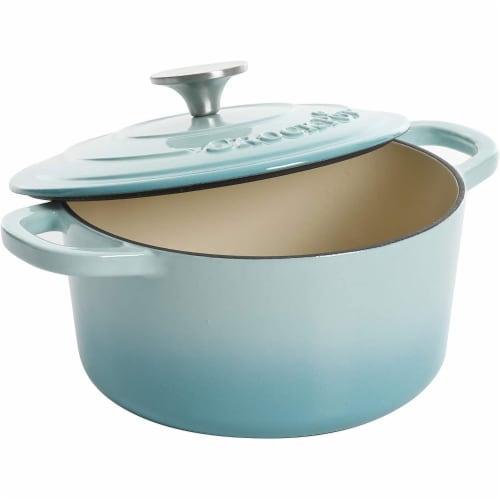 Crock-Pot 3 Quart Round Enamel Cast Iron Covered Dutch Oven Cooker, Aqua Blue Perspective: bottom