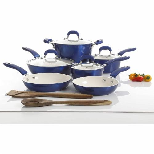Kenmore Arlington 12 Piece Nonstick Ceramic Cookware and Accessory Set, Blue Perspective: bottom