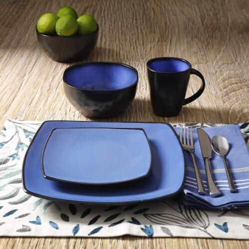 Gibson Elite Soho Lounge 16 Piece Plates, Bowls, & Mugs Dinnerware Set, Blue Perspective: bottom