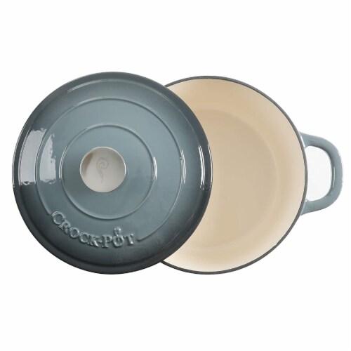 Gibson 7 qt Round Dutch Oven Crock Pot, Grey Perspective: bottom