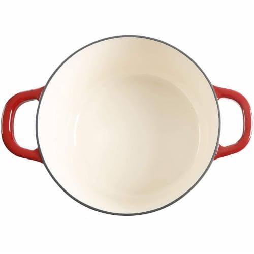 Crock-Pot 7 Quart Round Enamel Cast Iron Covered Dutch Oven Cooker, Scarlet Red Perspective: bottom