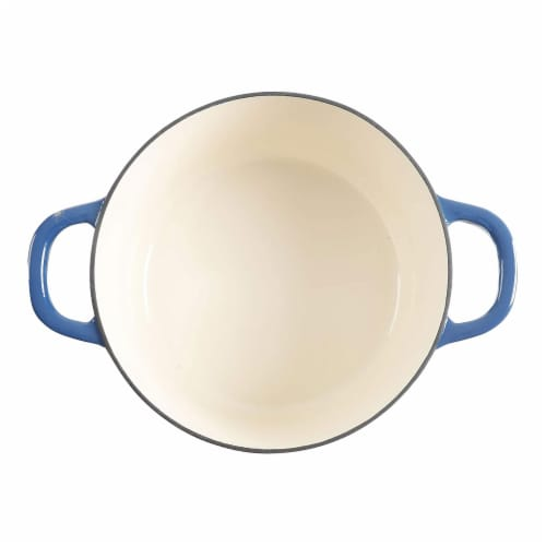 Crock-Pot 7 Quart Round Enamel Cast Iron Covered Dutch Oven Slow Cooker, Blue Perspective: bottom