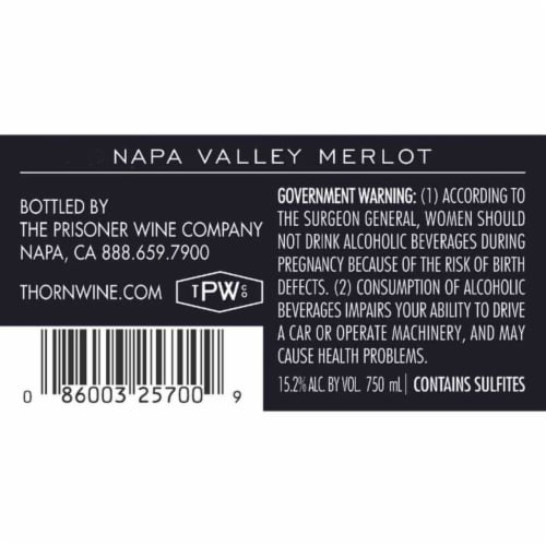 Thorn Napa Valley Merlot Red Wine Perspective: bottom