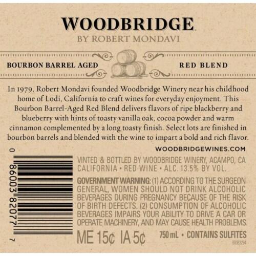 Woodbridge by Robert Mondavi Bourbon Barrel Aged Red Blend Wine Perspective: bottom
