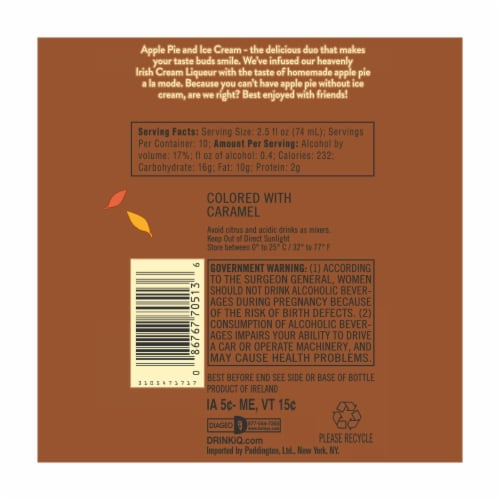 Baileys™ Apple Pie Irish Cream Liqueur Perspective: bottom