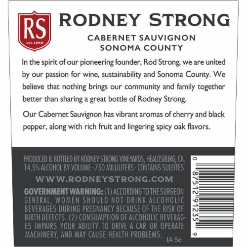 Rodney Strong Cabernet Sauvignon Red Wine Perspective: bottom