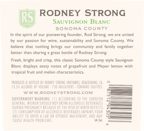 Rodney Strong Charlotte's Home Sauvignon Blanc White Wine Perspective: bottom