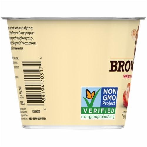 Brown Cow Cream Top Strawberry on the Bottom Whole Milk Yogurt Perspective: bottom