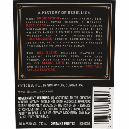 Simi Winery Rebel Cask Red Wine Blend Perspective: bottom