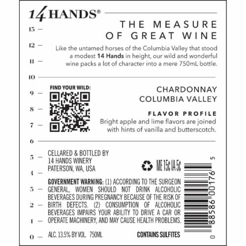 14 Hands Chardonnay White Wine Perspective: bottom