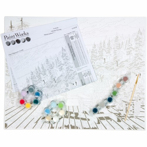 Dimensions® PaintWorks™ Lakeside Morning Paint by Number Kit Perspective: bottom