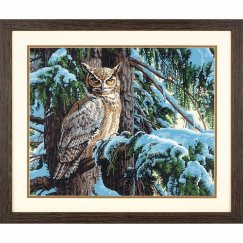 Dimensions® PaintWorks™ Great Horned Owl Paint by Number Kit Perspective: bottom