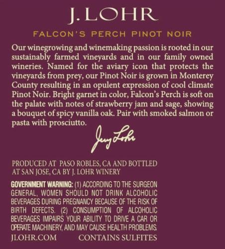 J. Lohr Estates Falcon's Perch Pinot Noir Red Wine Perspective: bottom
