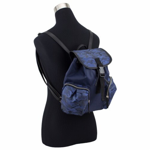 Bodhi Microfiber Fashion Drawstring Flap Backpack - Navy Camo Perspective: bottom