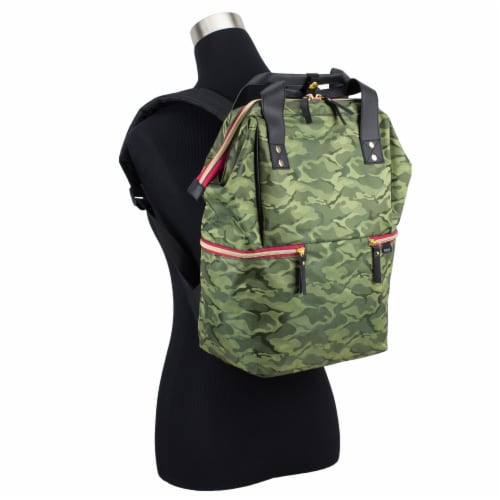 Bodhi Double Handle Tote Backpack - Green Camo Perspective: bottom