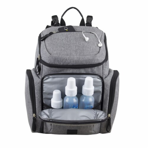 Bodhi Baby Wooster Street Diaper Backpack - Mid-grey Chambray Perspective: bottom