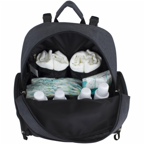 Bodhi Baby Bond Street Diaper Backpack - Black Chambray Perspective: bottom