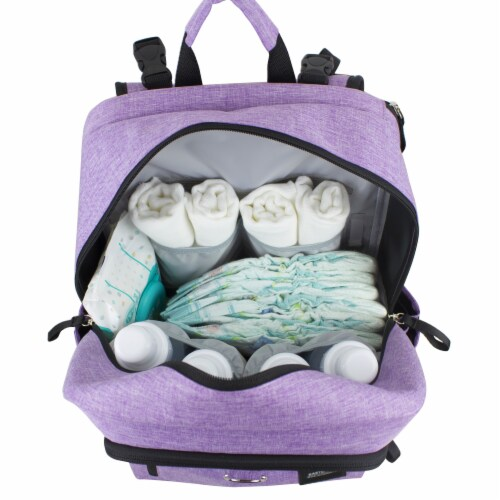 Bodhi Baby Rubin Weekender Tech Diaper Backpack - Purple Chambray Perspective: bottom