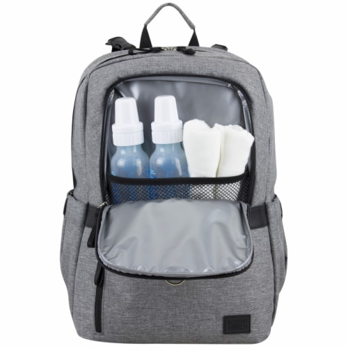 Bodhi Baby Rubin Weekender Tech Diaper Backpack - Mid-grey Chambray Perspective: bottom