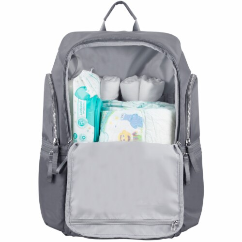 Bodhi Baby Lafayette Street Diaper Backpack - Ash Grey Perspective: bottom