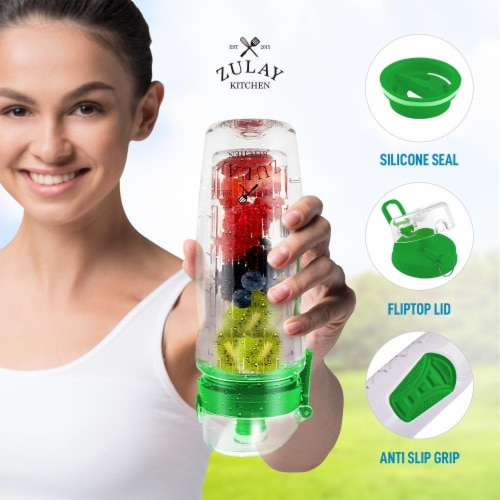 Water Bottle, Fruit Infuser - [34 oz] Lime Green Perspective: bottom