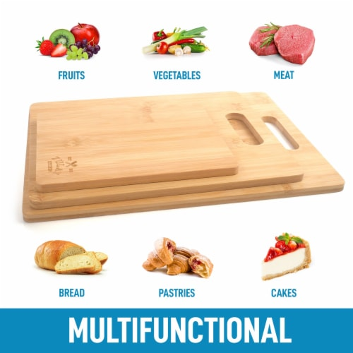 Bamboo Wooden Cutting Boards For Kitchen Premium 3 Assorted Sizes Wood Cooking Serving Perspective: bottom