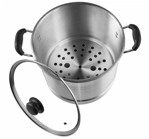 IMUSA Seafood and Tamale Steamer with Glass Lid - Silver Perspective: bottom