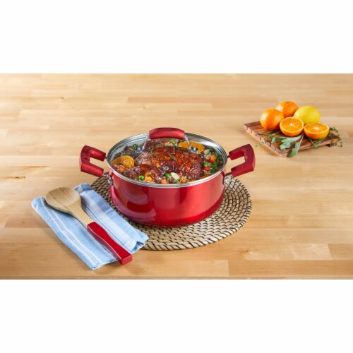 IMUSA Dutch Oven with Glass Lid - Ruby Red Perspective: bottom