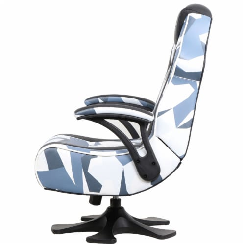X Rocker Pedestal Gaming Chair w/ Padded Armrests, Gray & Black Camo Perspective: bottom