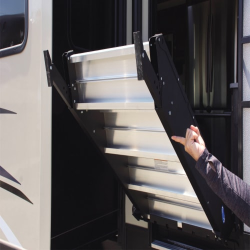 MORryde StepAbove 31.5 to 37 In 3 Step Portable RV Camper Stairs w/ Strut Assist Perspective: bottom