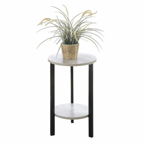 Graystone 24  Plant Stand in Gray Faux Birch Wood Finish and Black Metal Frame Perspective: bottom