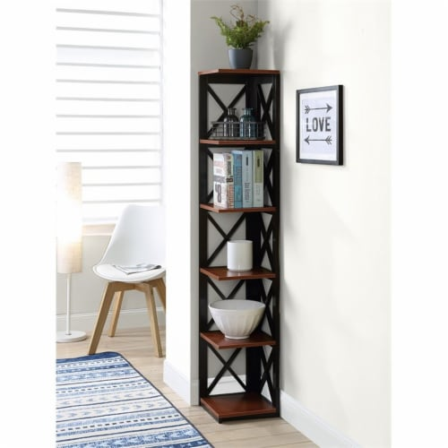 Convenience Concepts Oxford Five-Tier Corner Bookcase in Cherry and Black Wood Perspective: bottom