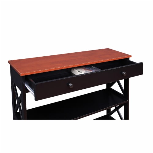 Convenience Concepts Oxford One-Drawer Console Table in Cherry and Black Wood Perspective: bottom
