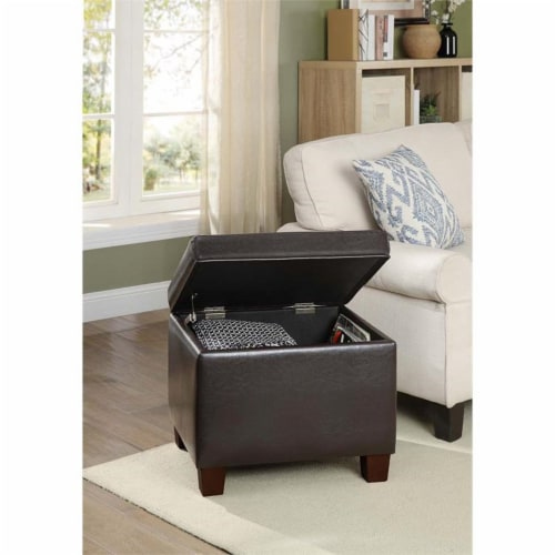 Convenience Concepts Madison Storage Ottoman in Espresso Faux Leather Fabric Perspective: bottom