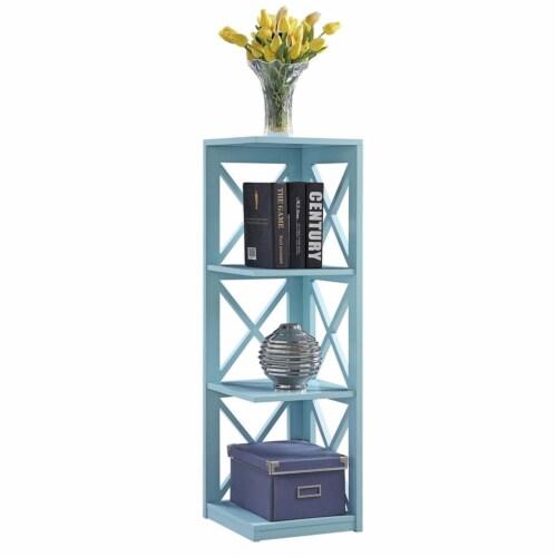 Convenience Concepts Oxford Three-Tier Corner Bookcase in Sea Foam Wood Finish Perspective: bottom