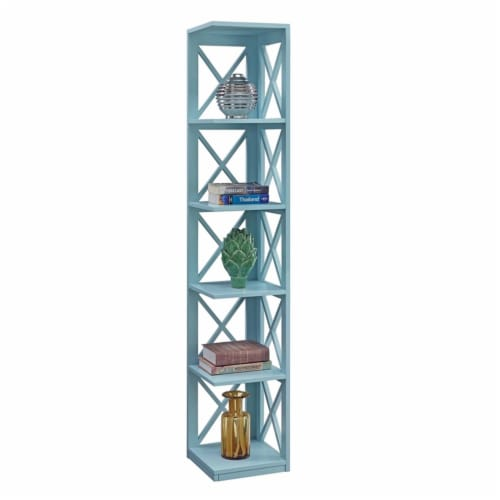 Convenience Concepts Oxford Five-Tier Corner Bookcase in Mint Green Wood Finish Perspective: bottom