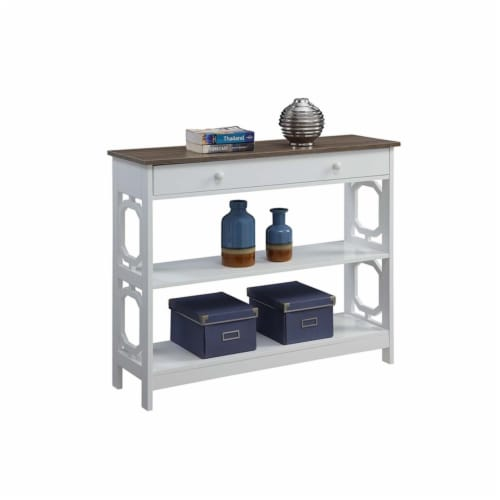 Convenience Concepts Omega One-Drawer Console Table in Espresso and White Wood Perspective: bottom