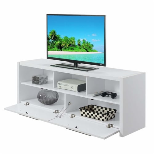 Convenience Concepts Newport Marbella 60  TV Stand in White Wood Finish Perspective: bottom