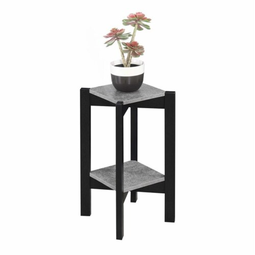 Convenience Concepts Planters & Potts Medium Square Plant Stand in Gray Wood Perspective: bottom