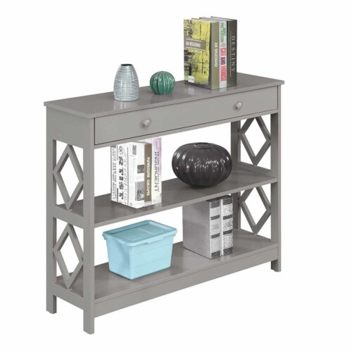 Convenience Concepts Diamond One-Drawer Console Table in Gray Wood Finish Perspective: bottom