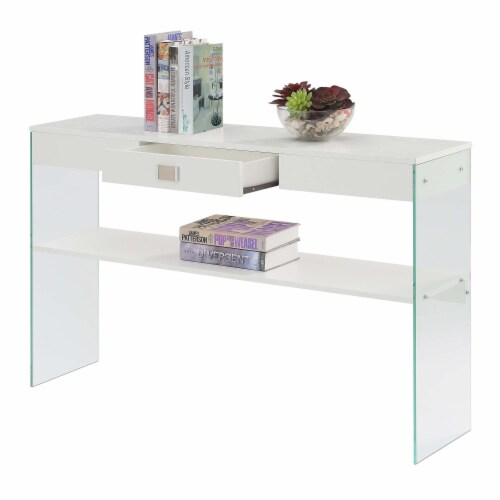 SoHo One-Drawer Console Table in Clear Glass with White Wood Top Perspective: bottom